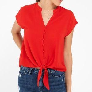 Red Tie Front Crop Top